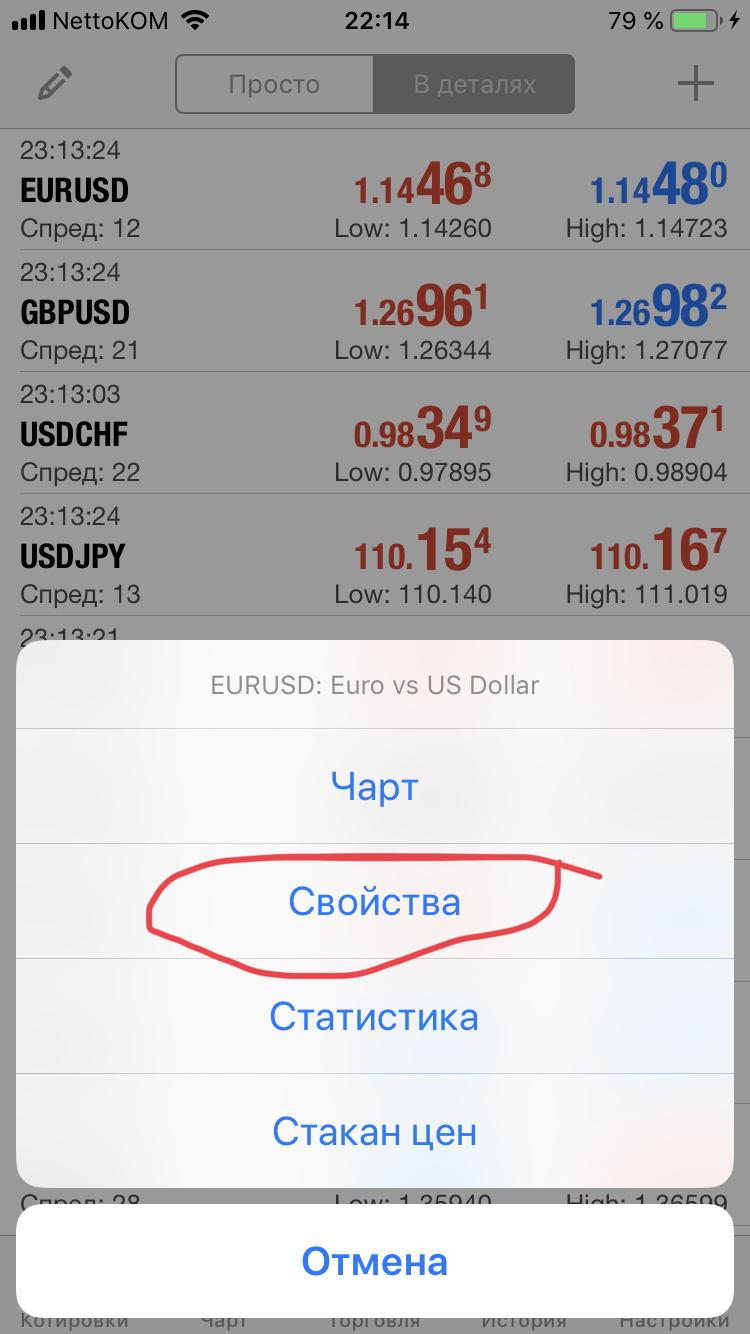 Скриншот 8. Свойста торгового инстурмента в мобильном терминале