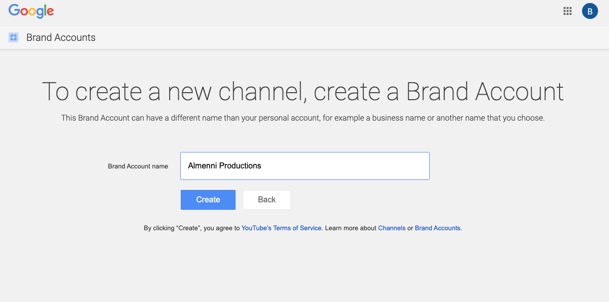 how to enter a brand name account for a second youtube channel