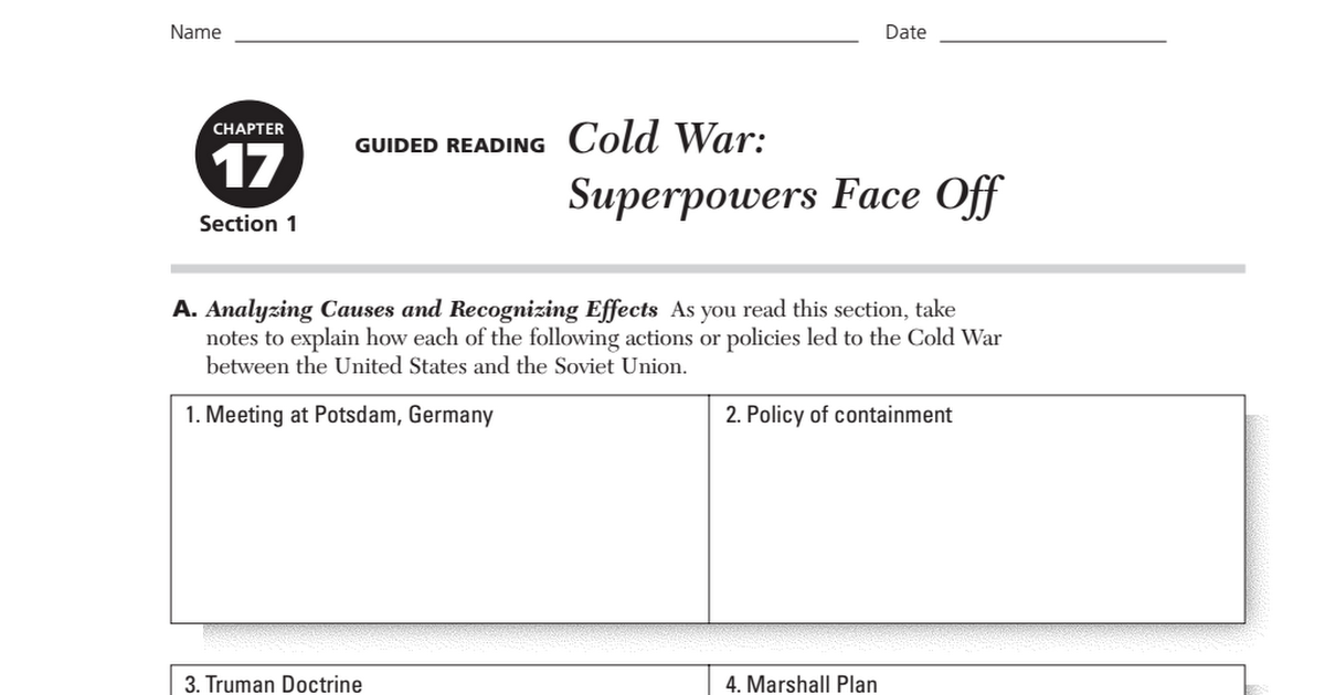 Cold War Superpowers Face Off Guided Readingpdf Google Drive