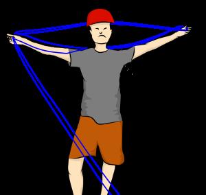mouvements alternés des mains pour passer la corde sur les épaules, à la façon d'un papillon