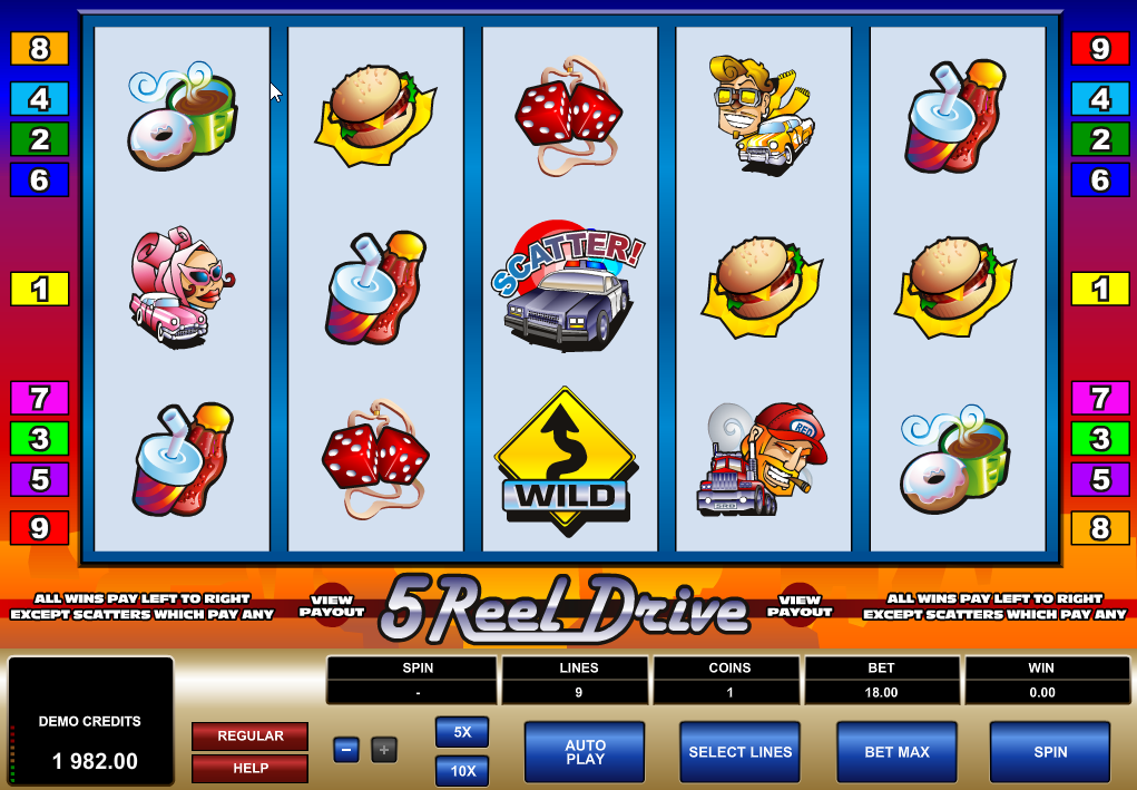 Play 5 Reel Drive Slots Game today!