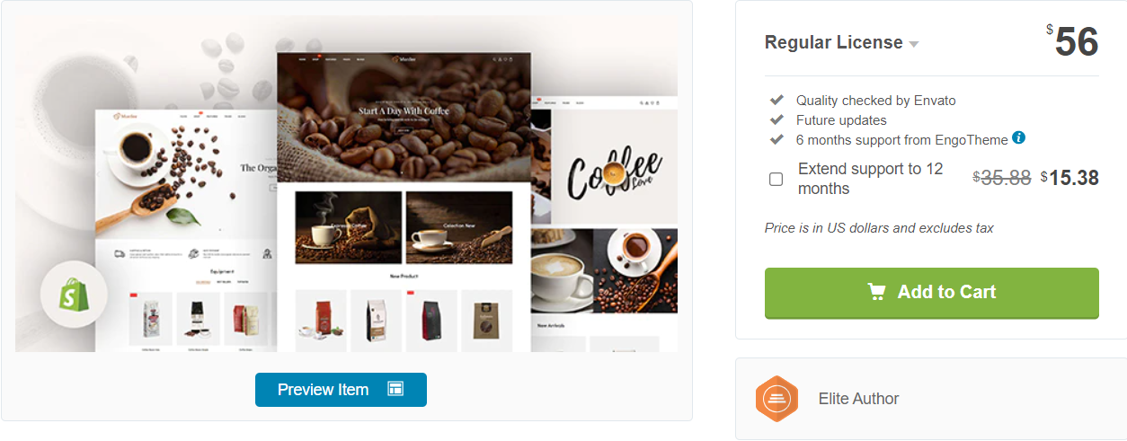an example of an online coffee store theme