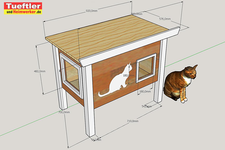 Теплый зимний домик для кошки своими руками чертеж с размерами