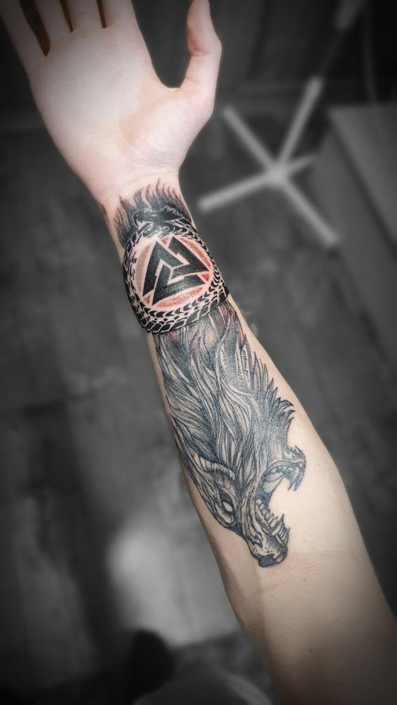 Fenrir & Jörmungandr Valknut Tattoo