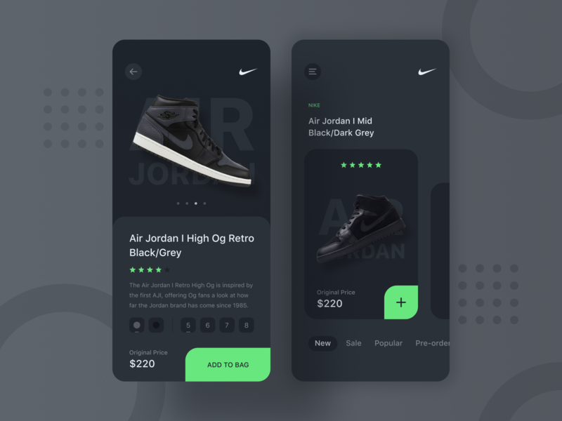 Nike Sneaker Shop UI concept sneaker nike ui ux uidesign simple minimal matte elegant app design dark clear clean black app