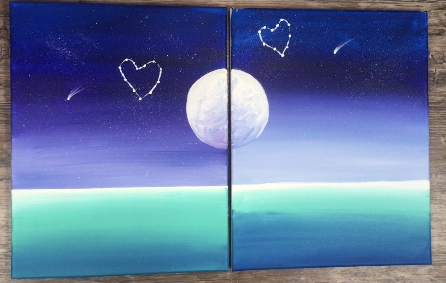 couples paint and sip date night canvases