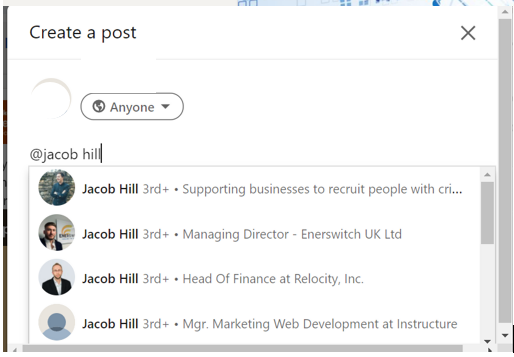 How to tag people on LinkedIn