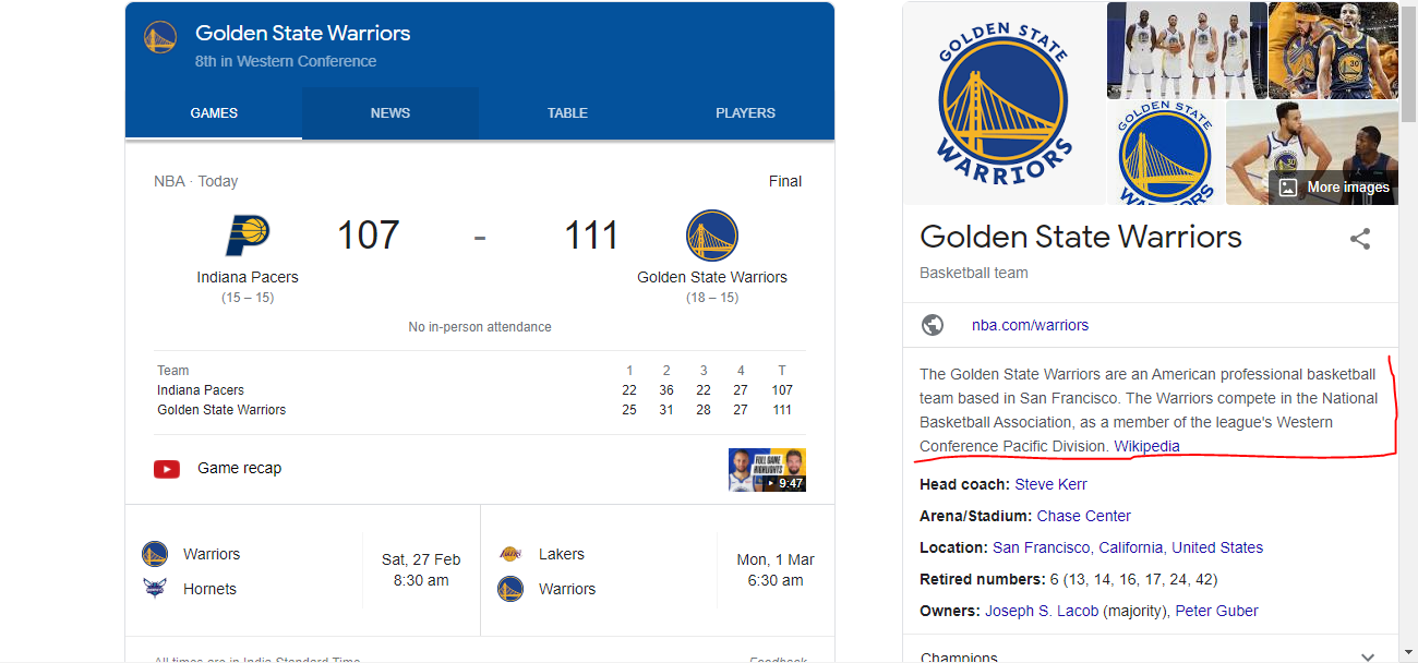 Google's new passage-based indexing in action for search term: Golden State Warriors