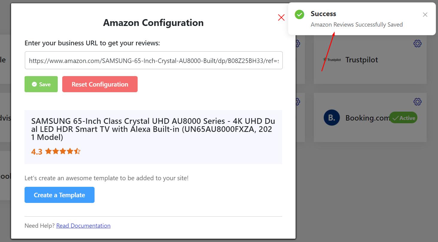 Amazon successful configuration