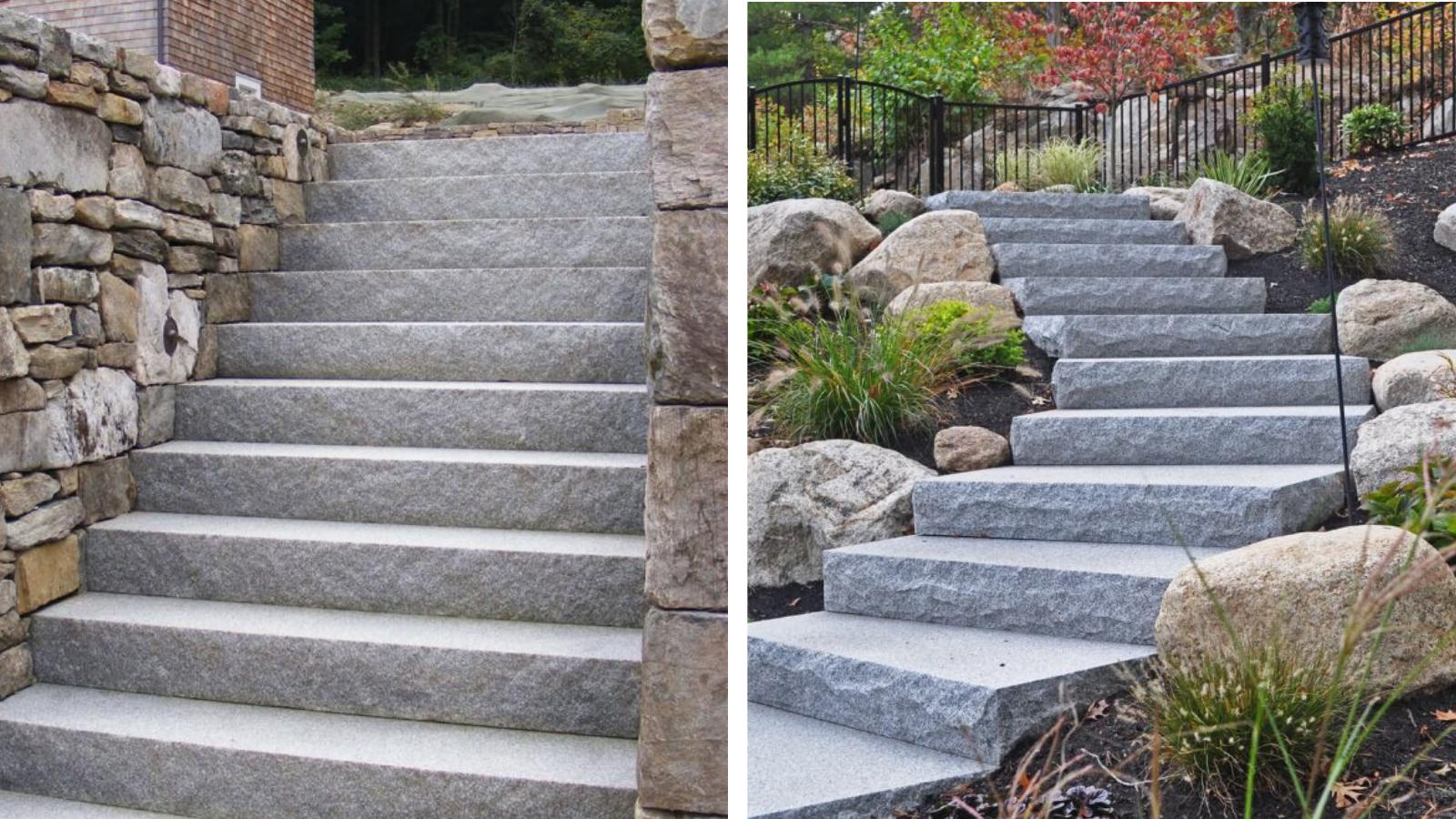 Swenson Granite Works split face steps and rock face steps