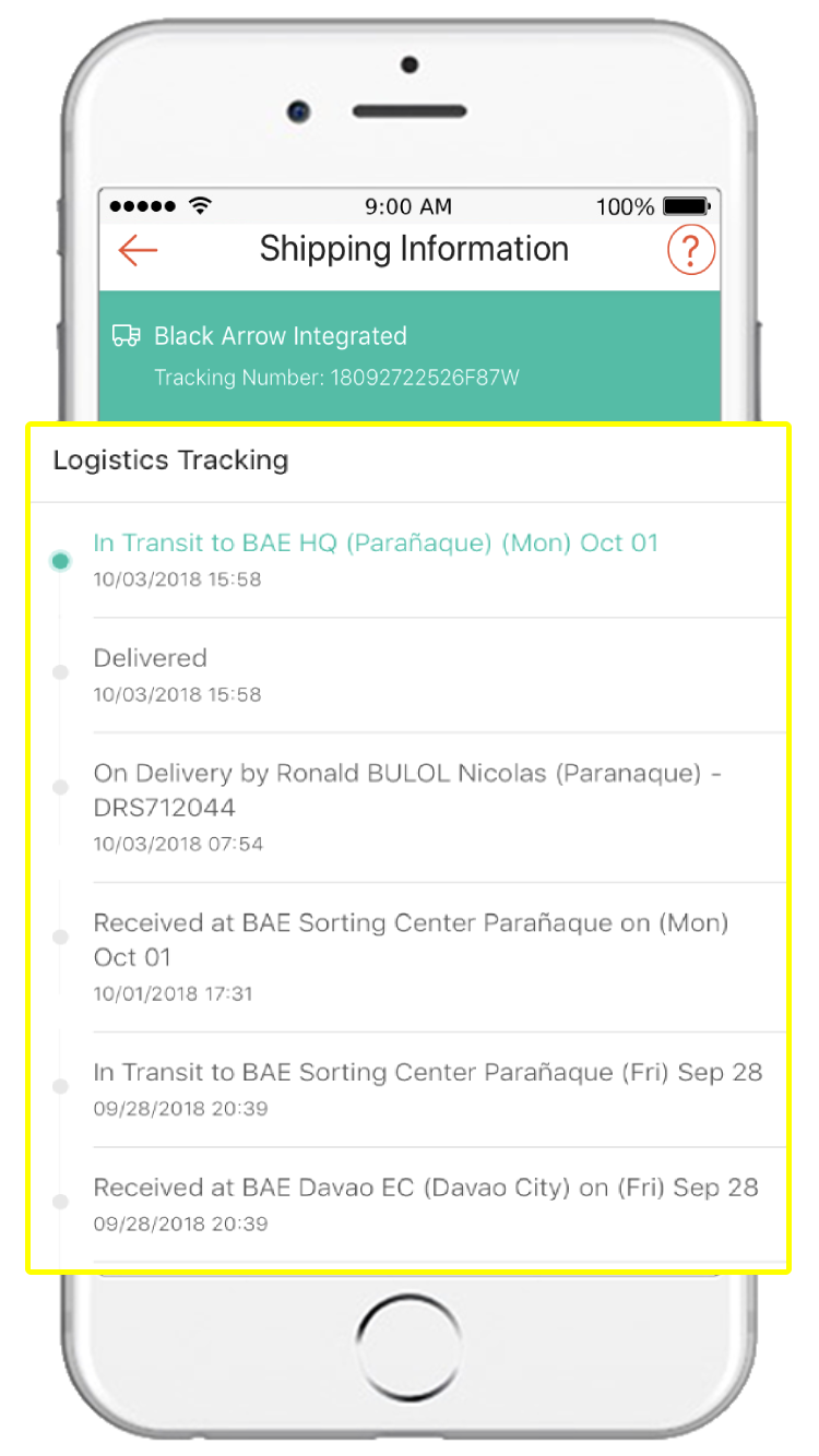 List of Black Arrow Integrated shipping and delivery status
