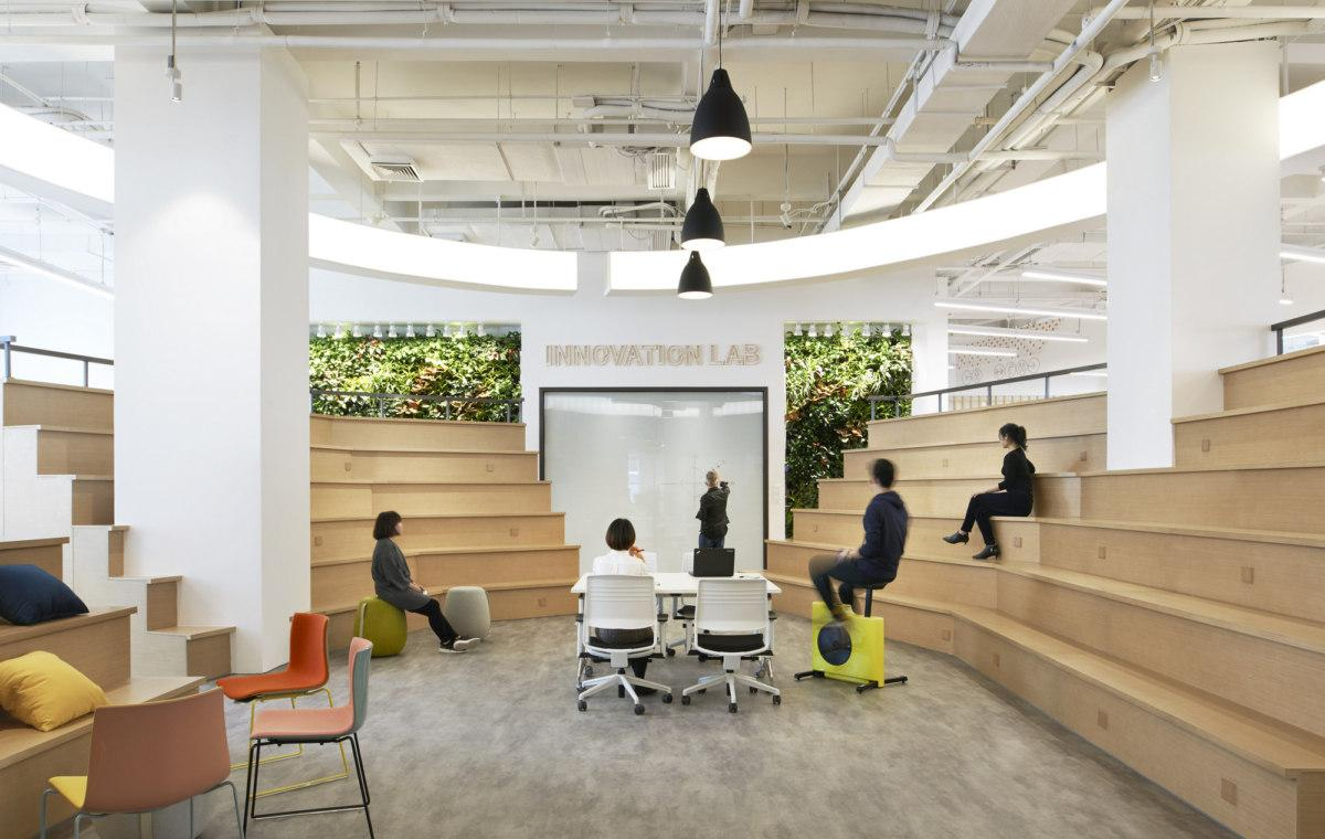 Innovation lab auditorium with various types of ergonomic seating examples