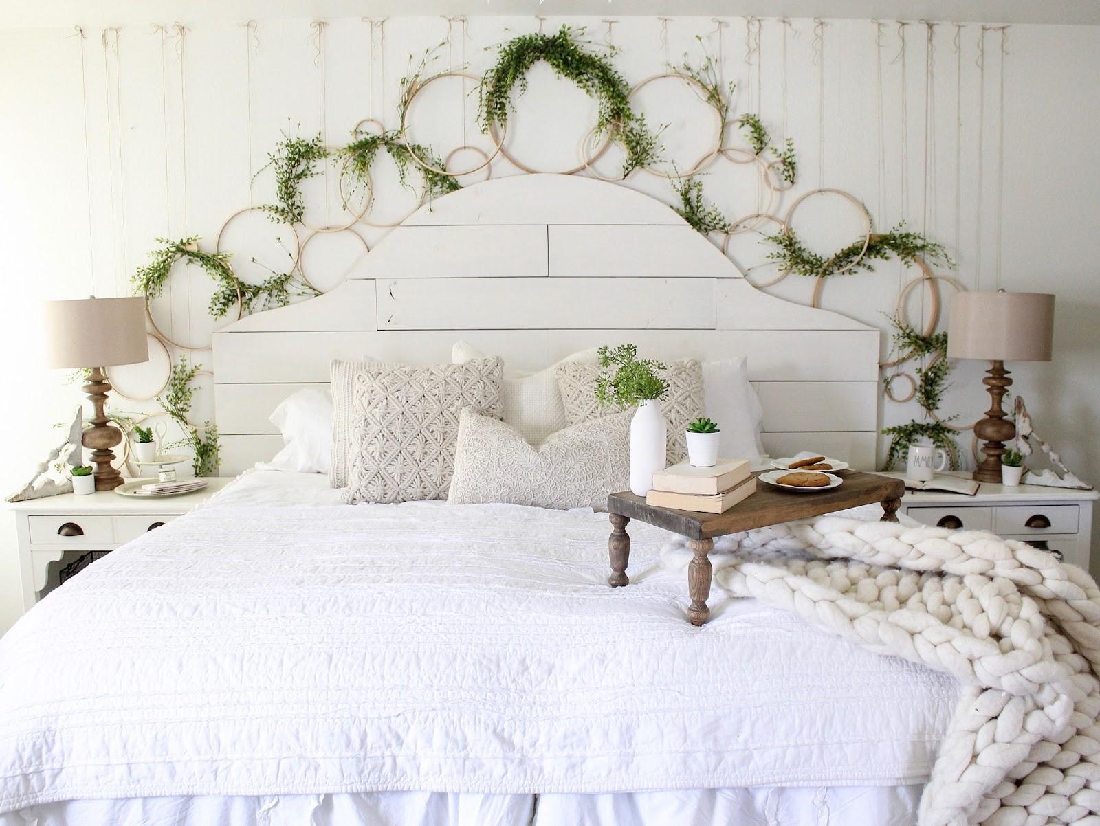 Farmhouse Bedroom with Spring Wreath