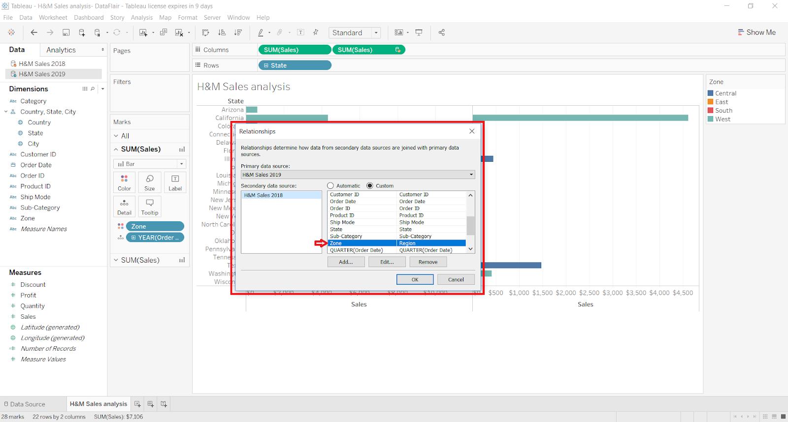 data blending in tableau current worksheet