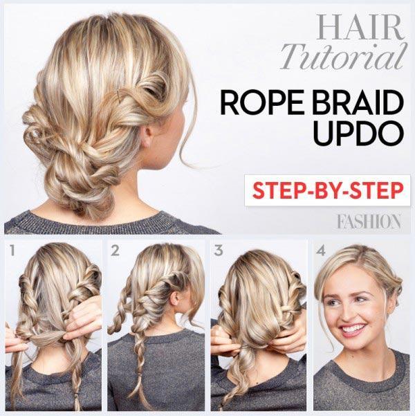 A collage of a person  Braided Bun hair styles