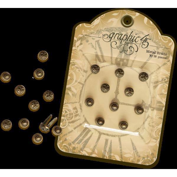 Antique Brass Stamped Metal Brads