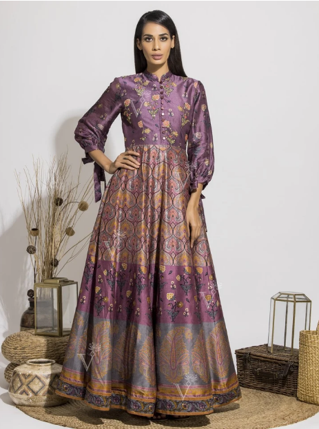 Deep Violet Silk Printed Anarkali Gown