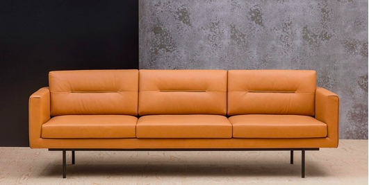 A brown couch in front of a blue wall  Description automatically generated with medium confidence