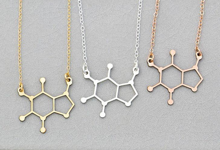 Caffeine Molecule Necklaces - gifts for coffee lovers