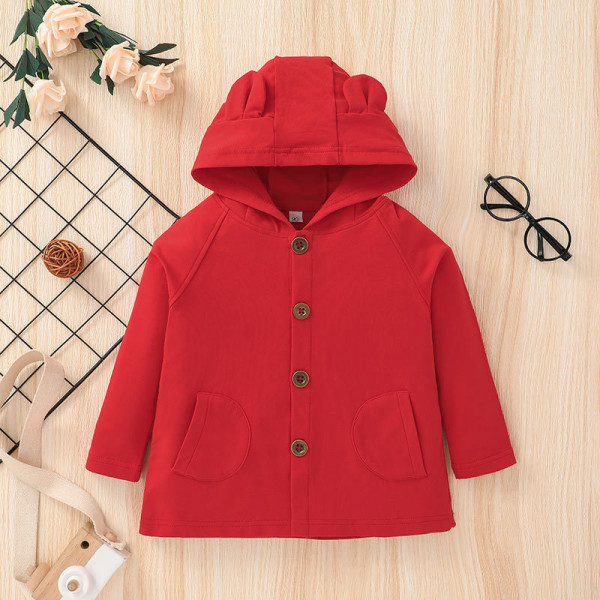 Toddler Cutie Bear Hooded Solid Red Coat