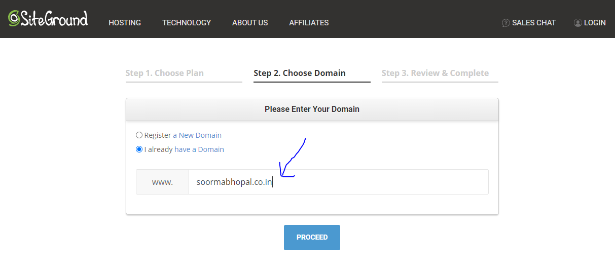 pasting domain name on SiteGround
