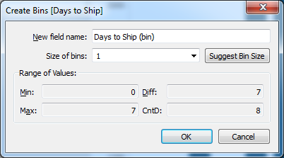 Create Bins [Days to Ship]