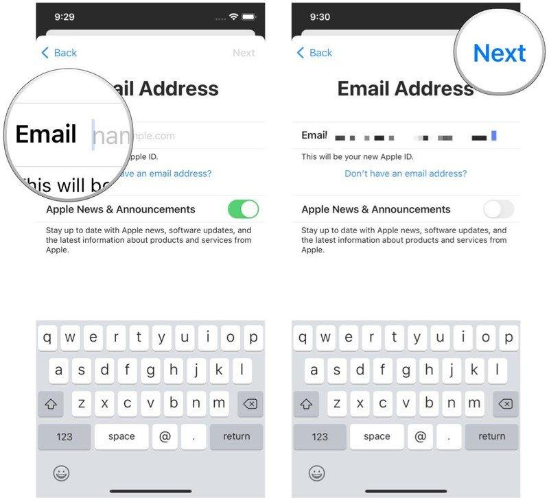 Create a new Apple ID on iPhone by showing: Type in the email you want to use or create a new iCloud email, choose if you want Apple News & Announcement emails, then tap Next
