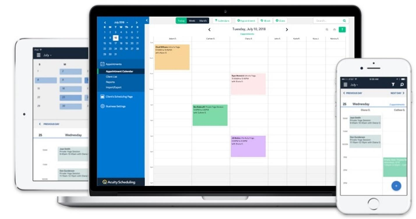 Acuity Scheduling is a third-party option that can be used with Zapier integration