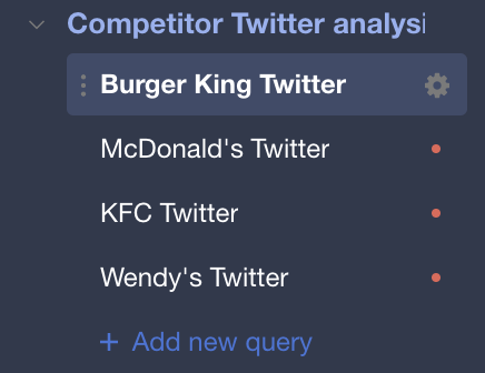 Competitors' folder in Twitter competitor analysis