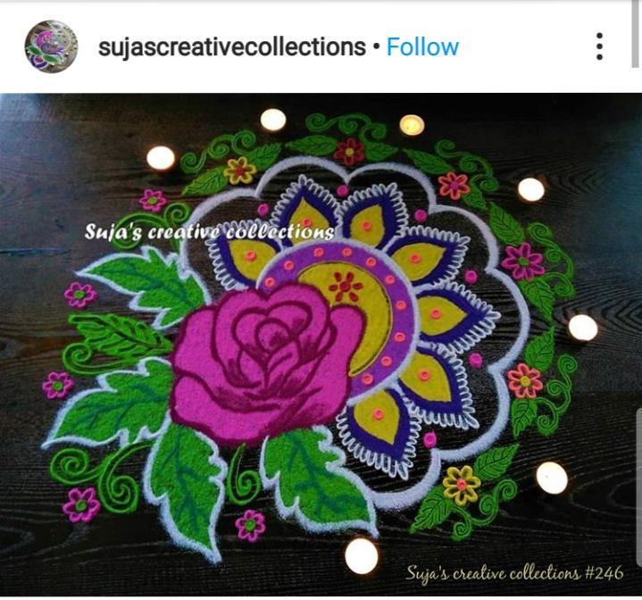 Rose Rangoli designs