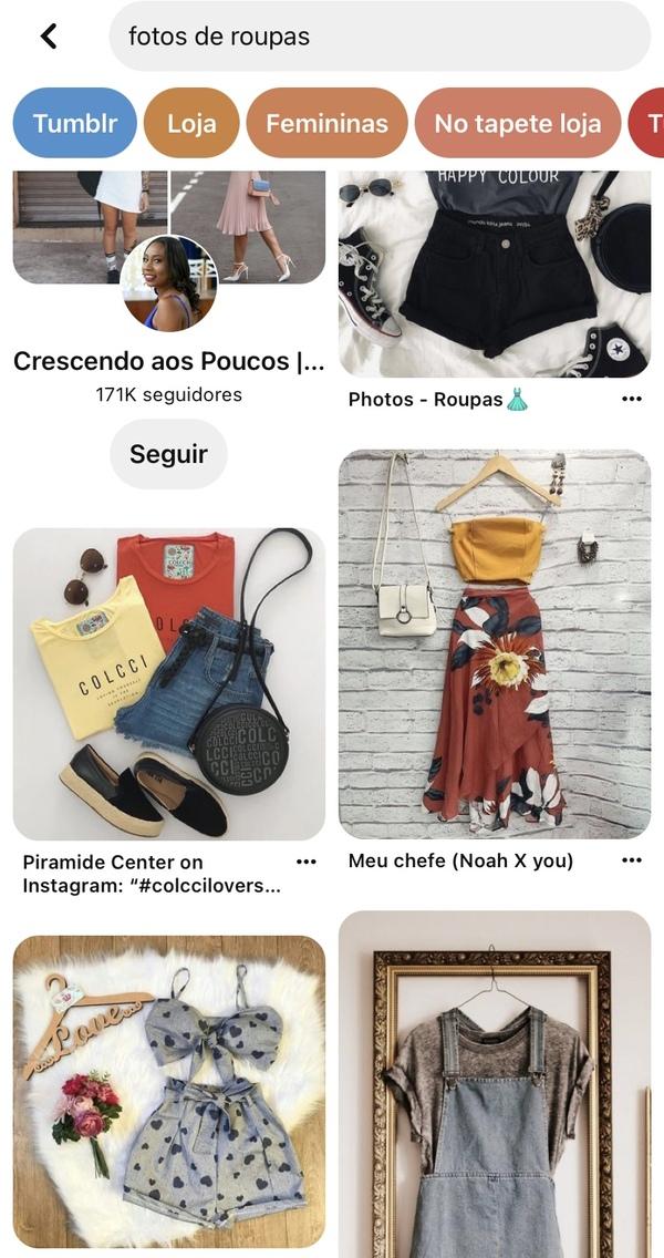 print da tela de início do Pinterest com fotos de roupas diversas