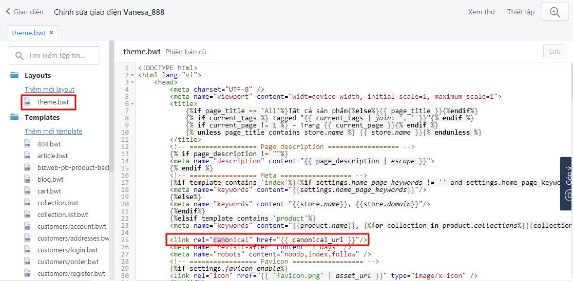Chèn đoạn mã canonical vào file theme.bwt