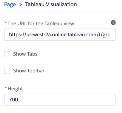 Editing pane for a Tableau visualization, including the URL for the Tableau view, option to show tabs or toolbar, and viz height