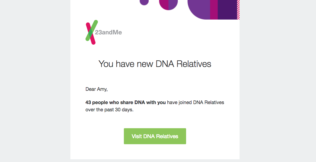 23andme customer experience-enhancing emails.