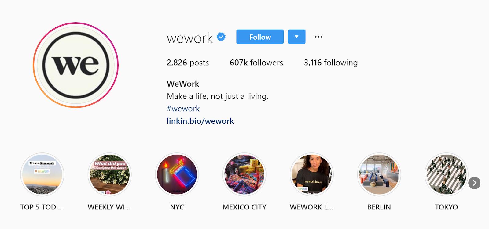 WeWork's Instagram business profile.