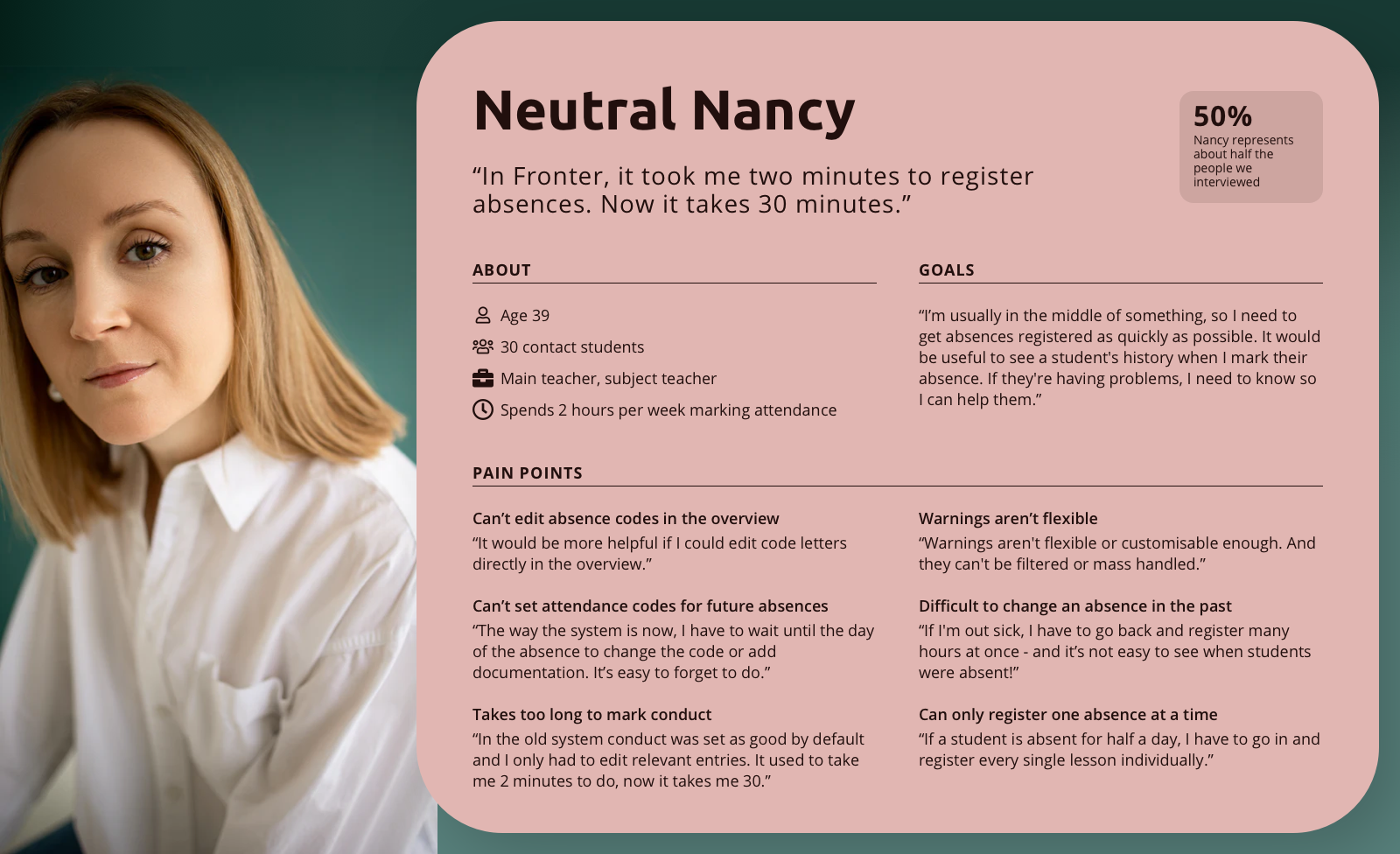 Description of a user persona named Neutral Nancy