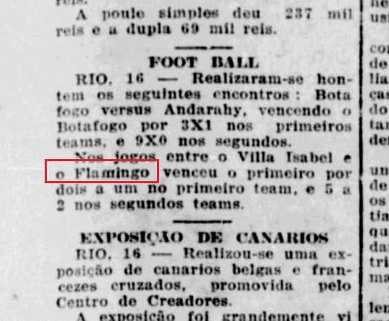 Jornal da época mostra o nome original: Flamingo