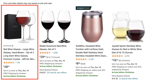 Example of a Sponsored Products Amazon PPC ad