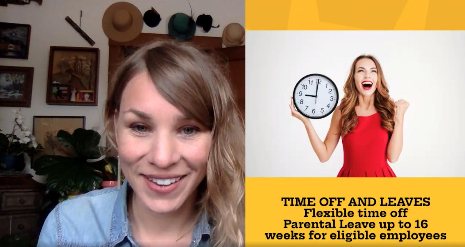 For remote interviews at Prezi, we use Prezi Video to highlight benefits.