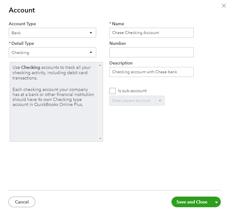 Add new bank account to Chart of Accounts