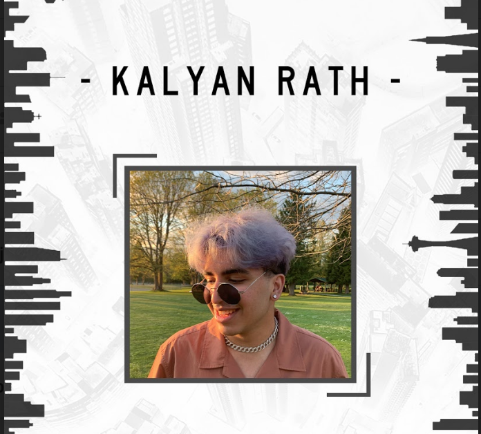 Image of artist Kaylan Rath outside with the sun shining on his face superimposed over two black and white images of the Vancouver skyline