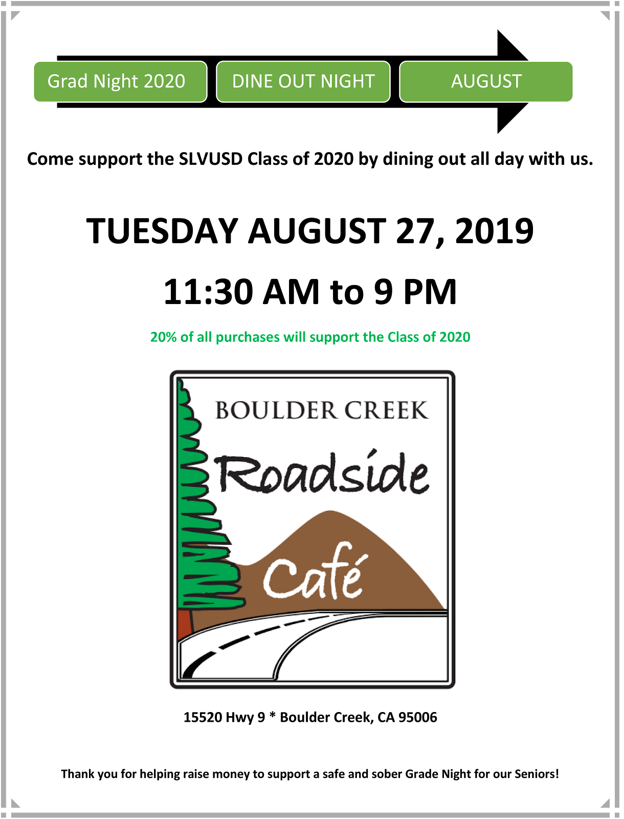 dine out fundraiser at roadside cafe. call 335-4425 for details