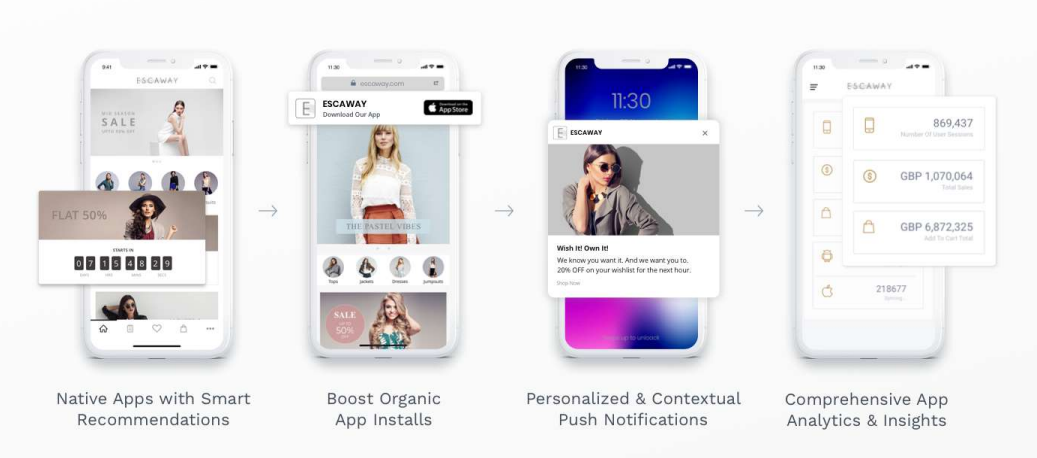 Example of four brands and their mobile apps