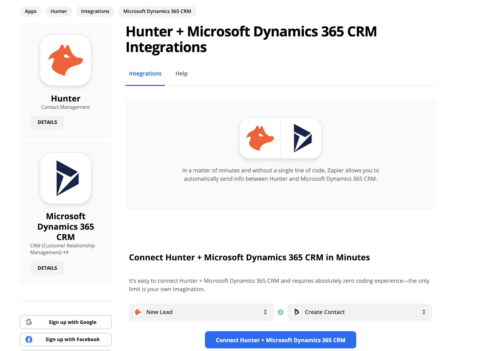 Hunter Zapier integrations