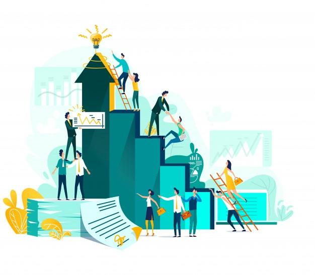 Goal achievement and teamwork business concept, career growth and cooperation for development of project Free Vector