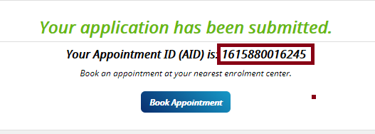 Now Your Application has been submitted For New Aadhaar Card