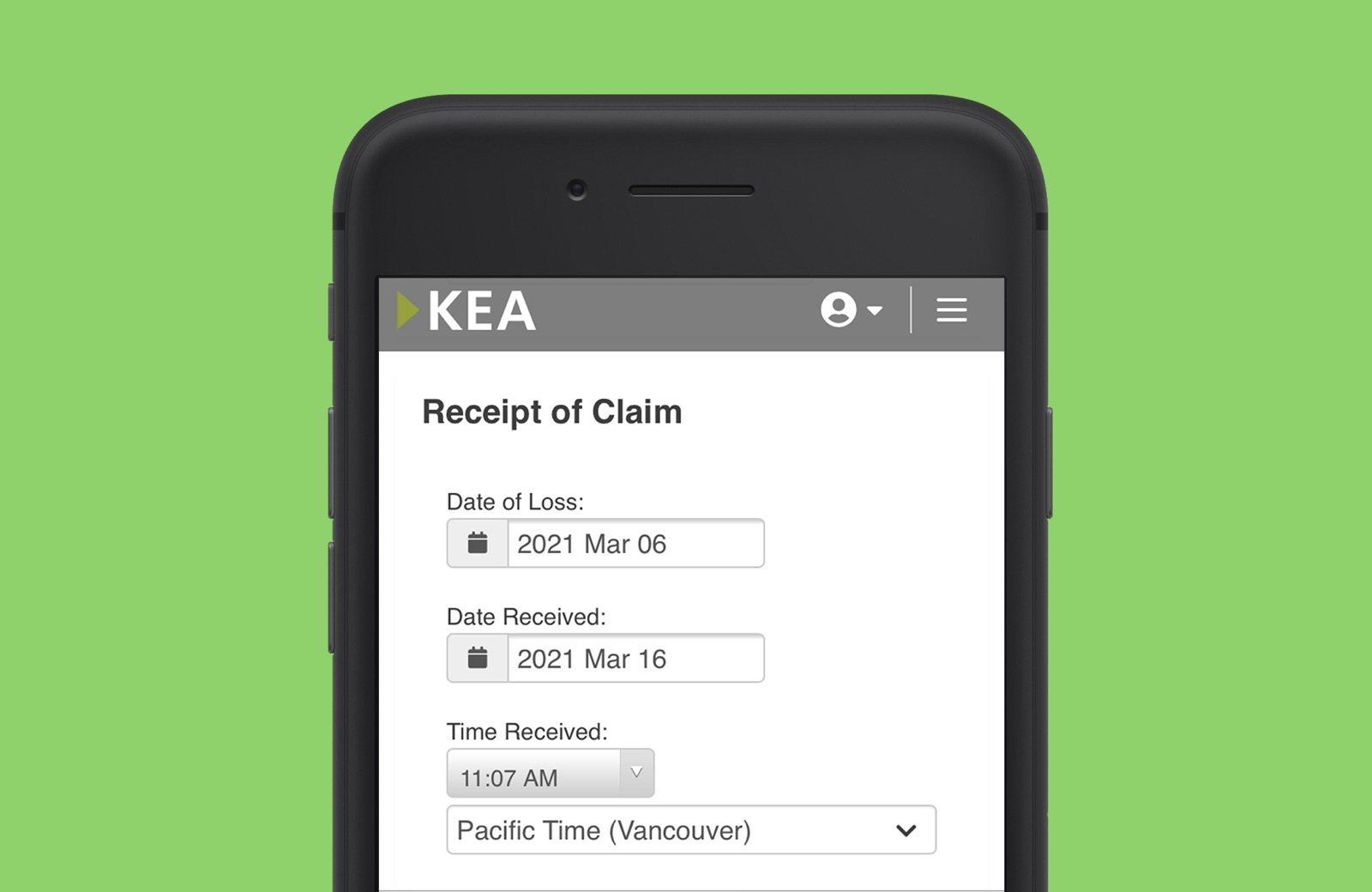 Mobile screenshot of the new tech stack for KEA and claims reporting