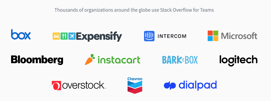 Logos for some of the companies that use Stack Overflow for Teams: Box, Expensify, Intercom, Microsoft, Bloomberg, Instacart, Bark Box, Logitech, Overstock, Chevron, and Dialpad.