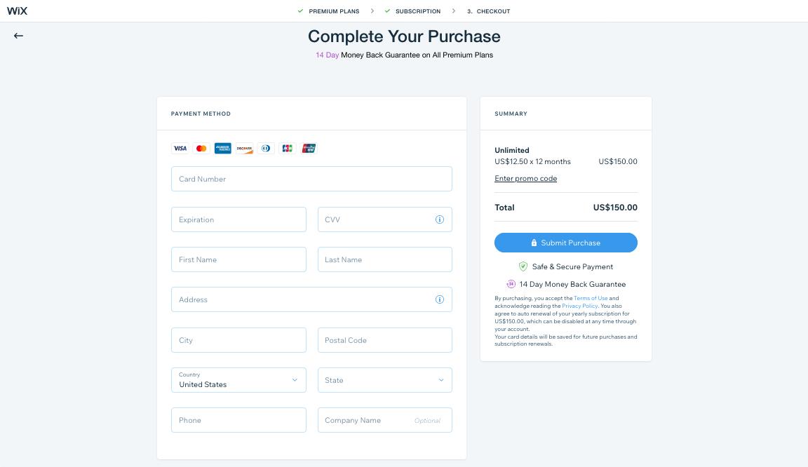 screenshot wix website kaufabschluss