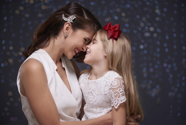 Mother and baby daughter are so close Free Photo
